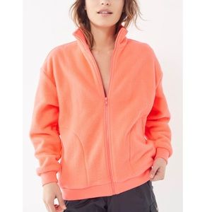 UO Fleece Jacket Pink Coral Full Zip Long Sleeve M